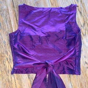 ANN TAYLOR LOFT purple sink tie back crop top
